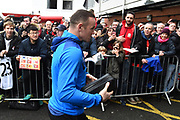 Wayne Rooney (10) of Everton getting off the team bus on arrival before the Premier League match between Bournemouth and Everton at the Vitality Stadium, Bournemouth, England on 30 December 2017. Photo by Graham Hunt.