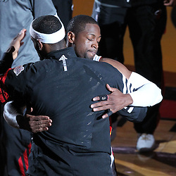 Jun 21, 2012; Miami, FL, USA; Miami Heat shooting guard Dwyane Wade (3) hugs Miami Heat small forward LeBron James (6) before the start of the first quarter in game five in the 2012 NBA Finals at the American Airlines Arena. Mandatory Credit: Derick E. Hingle-US PRESSWIRE