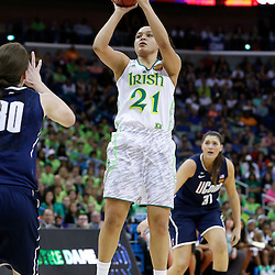 April 7, 2013; New Orleans, LA, USA; Notre Dame Fighting Irish guard Kayla McBride (21) shoots against the Connecticut Huskies during the first half in the semifinals during the 2013 NCAA womens Final Four at the New Orleans Arena. Mandatory Credit: Derick E. Hingle-USA TODAY Sports