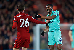 LIVERPOOL, ENGLAND - Saturday, December 29, 2018: Arsenal's Ainsley Maitland-Niles (R) and Liverpool's Andy Robertson during the FA Premier League match between Liverpool FC and Arsenal FC at Anfield. (Pic by David Rawcliffe/Propaganda)