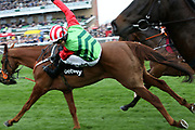Jockey Danny Cook parts company with Definitly Red in The Betway Bowl Steeple Chase Race at Aintree, Liverpool, United Kingdom on 12 April 2018. Picture by Craig Galloway.