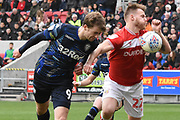 Leeds United forward Patrick Bamford (9) heads the ball at goal during the EFL Sky Bet Championship match between Bristol City and Leeds United at Ashton Gate, Bristol, England on 9 March 2019.