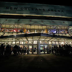 December 28, 2011; New Orleans, LA, USA; A general view outside as fan enter prior to tip off of a game between the New Orleans Hornets and the Boston Celtics at the New Orleans Arena.   Mandatory Credit: Derick E. Hingle-US PRESSWIRE