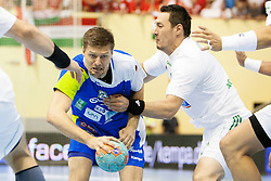 Marko Bezjak #8 of Slovenia during handball match between National teams of Slovenia and Hungary in play off of 2015 Men's World Championship Qualifications on June 15, 2014 in Rdeca dvorana, Velenje, Slovenia. Photo by Urban Urbanc / Sportida
