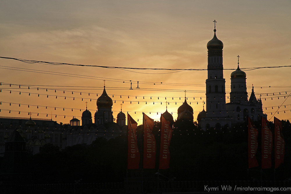 Europe, Russia, Moscow. Silhouette of Kremlin at sunset.