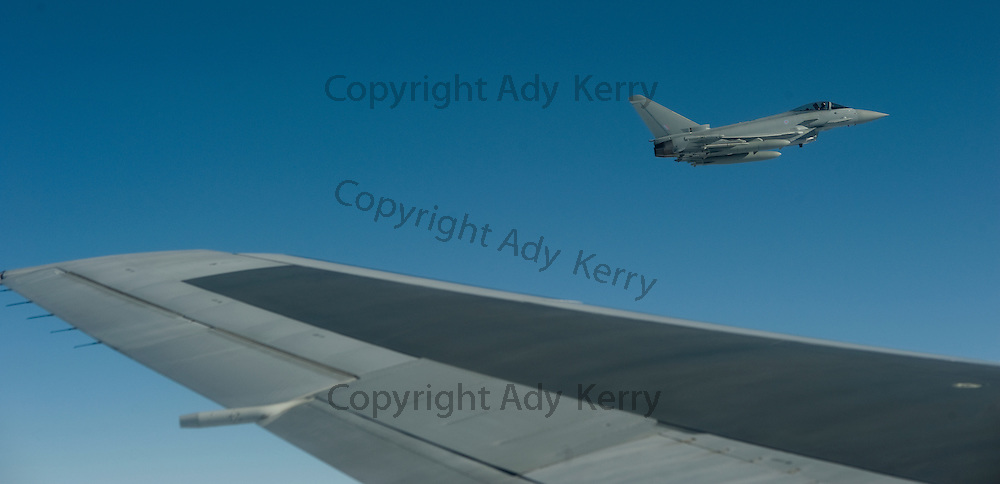 "The first mission flown by the new Typhoon fighter that are to replace the Tornado F3 at RAF Mount Pleasant was to escort the ""airbridge"" Flyglobespan Boeing 767-300 away from the falkland Islands, 18th September 2009."