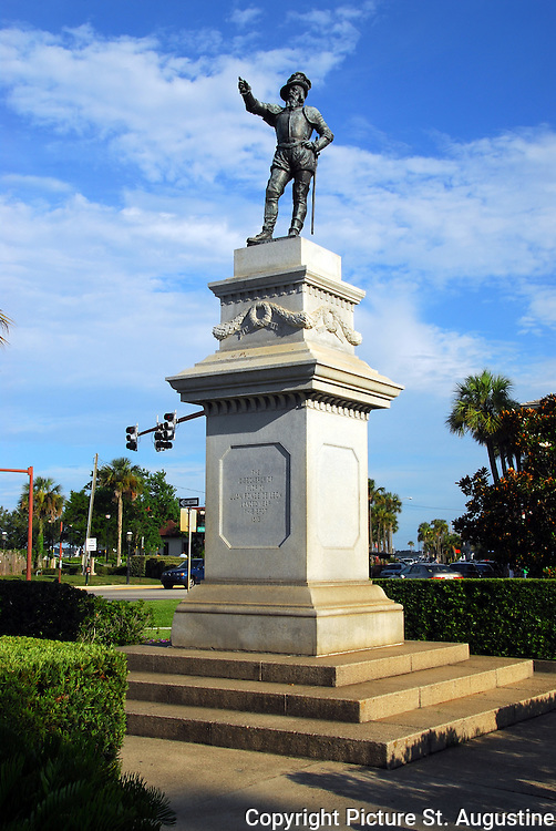 "This statue of Juan Ponce de Leon founder of Florida points toward Spain, in the old city of St. Augustine, Florida. The inscription on the statue reads ""The Discoverer of Florida, Juan Ponce de Leon landed near this spot in 1513."" St. Augustine is the oldest continually occupied city of European origin in the United States of America."