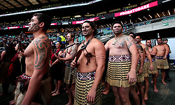 Traditional Maori Dancers line up at Twickenham before entertaining the crowd ahead of Barbarians v New Zealand - Mandatory by-line: Robbie Stephenson/JMP - 04/11/2017 - RUGBY - Twickenham Stadium - London,  - Barbarians v All Blacks - Killik Cup
