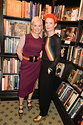 Left to right, sisters ROS POWELL and SANDY POWELL at a party to celebrate the publication of How I Met My Son by Ros Powell held at Hatchards, 187 Piccadilly, London on 11th February 2016.