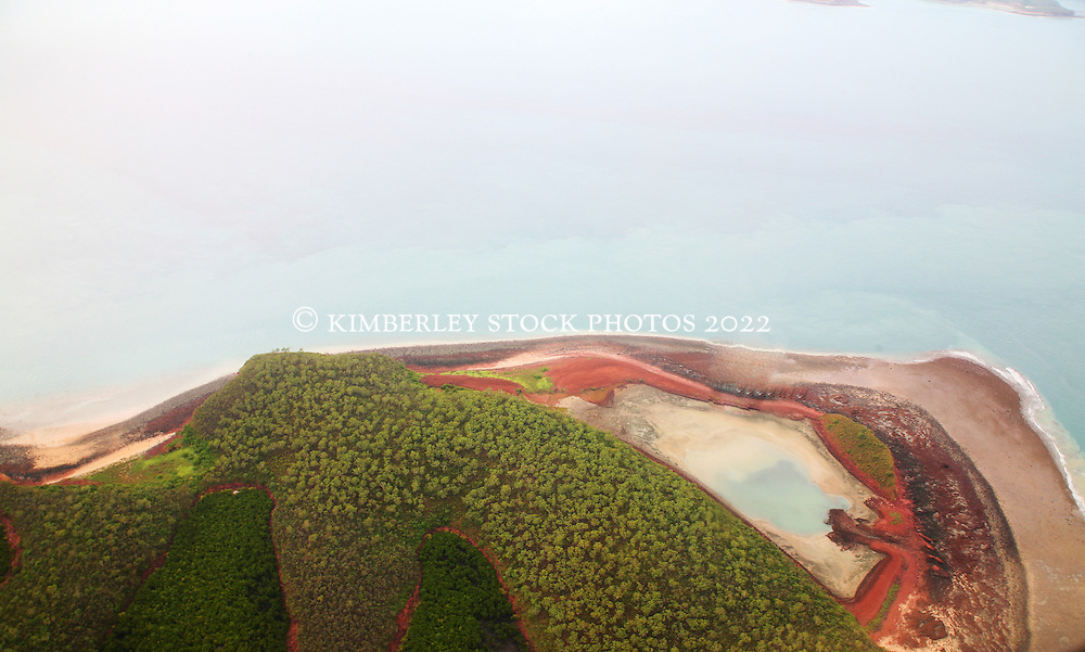 Aerial view of Kingfisher Island on the Kimberley coast.