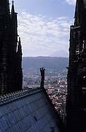 France. massif central. Clermont Ferrand. The cathedral , the old city  view from the tower    France   /  La cathedrale , la vieille ville  vue depuis la tour  Clermont Ferrand  France