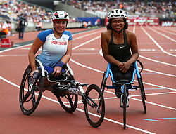 July 22, 2018 - London, United Kingdom - L-R Hannah Cockroft of Great Britain and Northern Ireland and Kare Adenegan Winner of Great Britain and Northern Ireland and World Recordafter the T34 100m Women during the Muller Anniversary Games IAAF Diamond League Day Two at The London Stadium on July 22, 2018 in London, England. (Credit Image: © Action Foto Sport/NurPhoto via ZUMA Press)