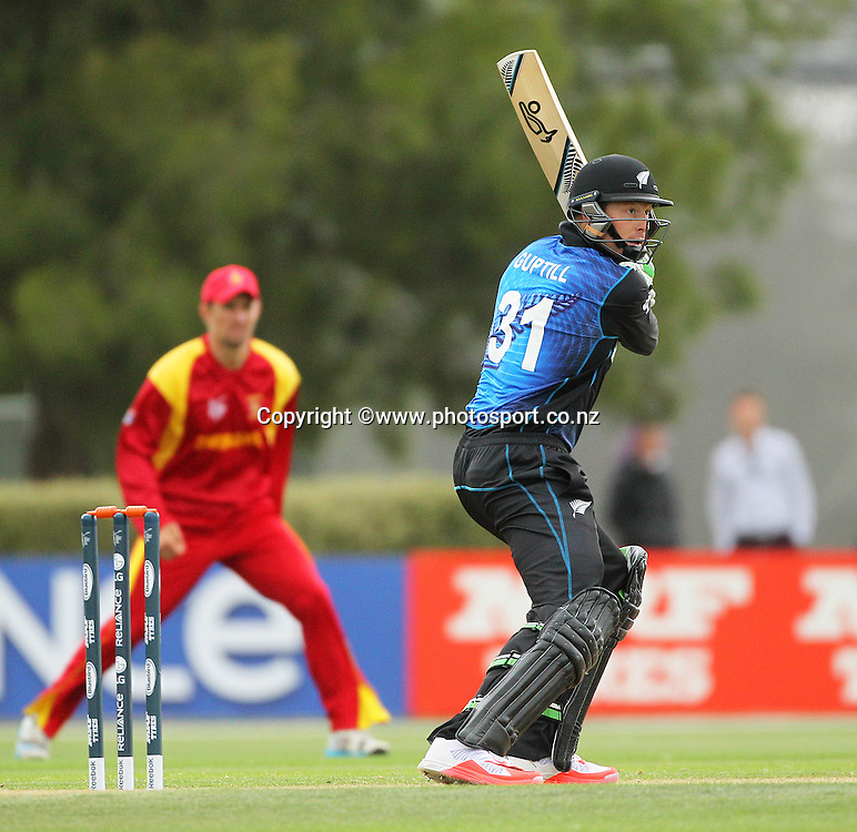 Martin Guptill of the Black Caps batting during the ICC Cricket World Cup warm up game between the Black Caps v Zimbabwe at Bert Sutcjliffe Oval, Lincoln, Christchurch. 9 February 2015 Photo: Joseph Johnson / www.photosport.co.nz