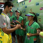 March 14, 2014 Indian Wells, California. Novak Djokovic defeats Julien Benneteau in the quarterfinal of the 2014 BNP Paribas Open. (Photo by Billie Weiss/BNP Paribas Open)