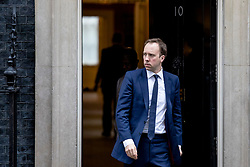 © Licensed to London News Pictures. 12/03/2019. London, UK. Secretary of State for Health and Social Care Matt Hancock leaves 10 Downing Street after the Cabinet meeting. MPs will get a second meaningful vote on Prime Minister Theresa May's Brexit deal this evening. Photo credit: Rob Pinney/LNP