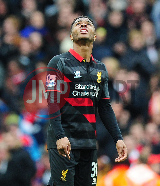 Raheem Sterling of Liverpool looks up into the sky. - Photo mandatory by-line: Alex James/JMP - Mobile: 07966 386802 - 04/04/2015 - SPORT - Football - London - Emirates Stadium - Arsenal v Liverpool - Barclays Premier League