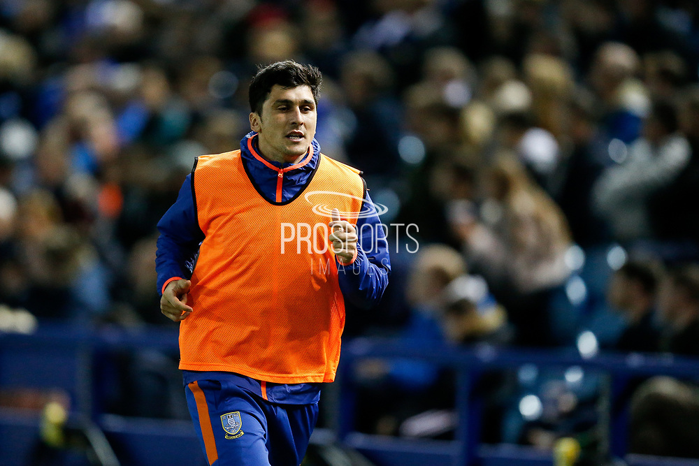 Fernando Forestieri of Sheffield Wednesday warming up as a substitute during the EFL Sky Bet Championship match between Sheffield Wednesday and Stoke City at Hillsborough, Sheffield, England on 22 October 2019.