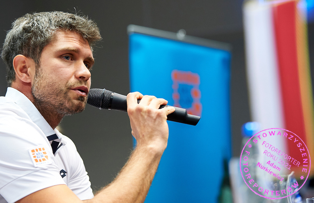 Trainer coach Tomasz Wiktorowski from Poland speaks during official press conference three days before the Fed Cup / World Group 1st round tennis match between Poland and Russia at Krakow Arena on February 4, 2015 in Cracow, Poland<br /> Poland, Cracow, February 4, 2015<br /> <br /> Picture also available in RAW (NEF) or TIFF format on special request.<br /> <br /> For editorial use only. Any commercial or promotional use requires permission.<br /> <br /> Mandatory credit:<br /> Photo by &copy; Adam Nurkiewicz / Mediasport