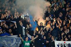26.11.2011, AWD Arena, Hannover, GER, 1.FBL, Hannover 96 vs Hamburger SV, im Bild Hamburger Fans zuenden bengalisches feuerwerk // during the Match GER, 1.FBL, Hannover 96 vs Hamburger SV, AWD Arena, Hannover, Germany, on 2011/11/26. EXPA Pictures © 2011, PhotoCredit: EXPA/ nph/ Schrader..***** ATTENTION - OUT OF GER, CRO *****