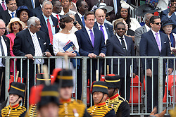 Image ©Licensed to i-Images Picture Agency. 14/06/2014. <br /> <br /> Pictured is the Prime Minister David Cameron and his wife Samantha Cameron watching The Trooping of the Colour.<br /> <br /> <br /> Trooping The Colour, Her Majesty The Queens Birthday Parade at Horse Guards Parade, London, UK.<br /> <br /> Saturday 14th of June 2014.<br /> Picture by Ben Stevens / i-Images