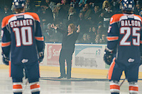 KELOWNA, CANADA, JANUARY 25: Wendy Thomas, the daughter of Dave Thomas, founder of Wendy's restaurants, stands on the ice as the Kamloops Blazers visit the Kelowna Rockets on January 25, 2012 at Prospera Place in Kelowna, British Columbia, Canada (Photo by Marissa Baecker/Getty Images) *** Local Caption ***