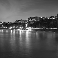 Black and white photo of the San Clemente California skyline at night. San Clemente is a popular beach city in Orange County California in the United States of America. Photo is high resolution. Copyright ⓒ 2017 Paul Velgos with All Rights Reserved.