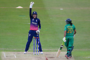 England womens cricket player Sarah Taylor (wk)  appeals for the LBW against Pakistan womens cricket player Asmavia Iqbal Khokhar and she is given out during the ICC Women's World Cup match between England and Pakistan at the Fischer County Ground, Grace Road, Leicester, United Kingdom on 27 June 2017. Photo by Simon Davies.