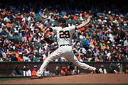 San Francisco Giants starting pitcher Jeff Samardzija (29) pitches against the Arizona Diamondbacks at AT&T Park in San Francisco, California, on August 6, 2017. (Stan Olszewski/Special to S.F. Examiner)