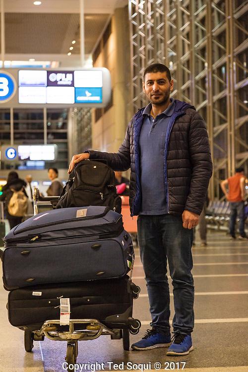 Iraqi interpreter, Alan Adil Abdullah at LAX International Terminal.<br /> Immigrants from countries on the anti-travel Muslim ban return to the US at LAX airport.