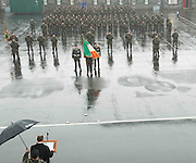 06/11/2014  Rain pours down on the  Lebanon Bound  47th Infantry Group from  in Renmore Barracks, Galway as Minister of State Mr Paul Kehoe T.D. addresses the Soldiers and families.  Photo:Andrew Downes