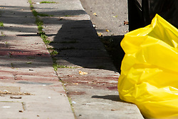 © Licensed to London News Pictures. 12/07/2020. London, UK. A blood stain can be seen on a section of pavement at a crime scene on the Black Prince Estate in Kennington. Police were called shortly after 2200hrs on Saturday, 11 July, to a man stabbed on the Black Prince Estate in Kennington. Officers attended along with London Ambulance Service and found a 30-year-old man suffering stab injuries. Despite the efforts of officers and paramedics, the man was pronounced dead at the scene. Photo credit: George Cracknell Wright/LNP