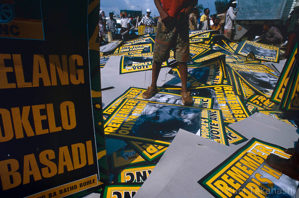 Political rally by ANC supporters in Durban, South Africa, prior to the country's first multi-racial election in 1994.