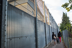 London, UK. 14 September, 2019. Activists from Movement for Justice, which campaigns against immigration detention and deportations, protest outside Heathrow detention centre following the death on 12th September of Oscar Okwurime, a detainee from Nigeria. According to the Home Office, the police, coroner and prisons and probation ombudsman are currently investigating his death in detention. Harmondsworth detention centre and its neighbour Colnbrook form Heathrow Immigration Removal Centre, the largest detention centre in Europe, which is run by the Care and Custody division of outsourcing giant Mitie.