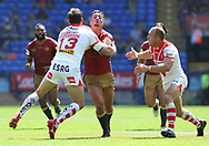 Louie McCarthy-Scarsbrook of Saint Helens tackles Tony Gigot of Catalans Dragons during the Ladbrokes Challenge Cup Semi Final match at the Macron Stadium Stadium, Bolton.<br /> <br /> Picture by Michael Sedgwick/Focus Images Ltd +44 7900 363072<br /> <br /> 05/08/2018