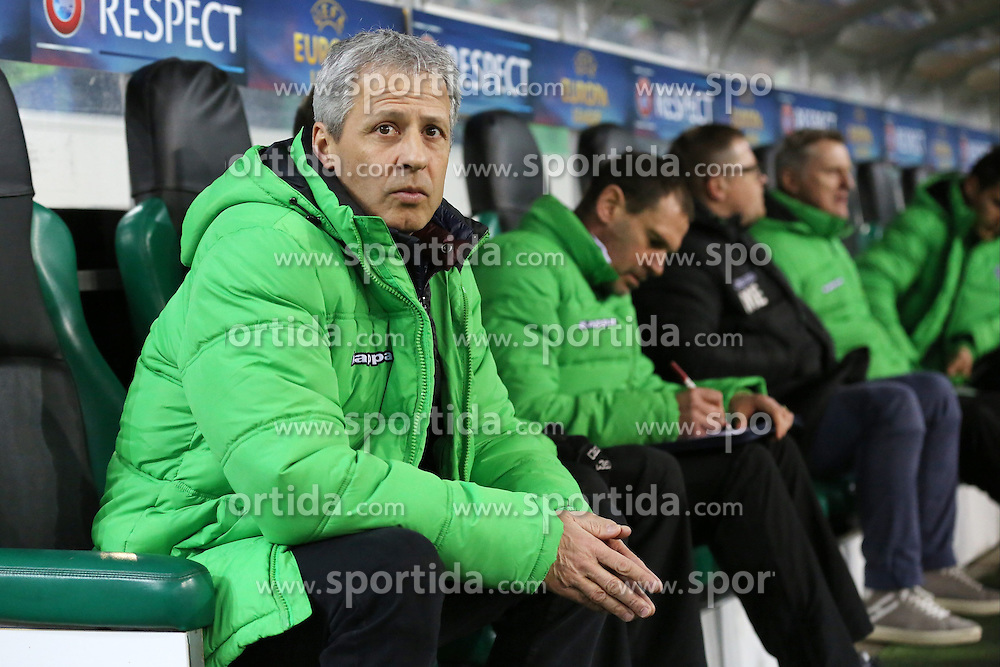 26.02.2015, Borussia-Park, M&ouml;nchengladbach, GER, UEFA EL, Borussia M&ouml;nchengladbach vs FC Sevilla, 1. Runde, R&uuml;ckspiel, im Bild Trainer Lucien Favre (Borussia Moenchengladbach) auf der Ersatzbank // during the UEFA Europa League 1st Round, 2nd Leg match between Borussia M&ouml;nchengladbach and FC Sevilla at the Borussia-Park in M&ouml;nchengladbach, Italy on 2015/02/26. EXPA Pictures &copy; 2015, PhotoCredit: EXPA/ Eibner-Pressefoto/ Schueler<br /> <br /> *****ATTENTION - OUT of GER*****