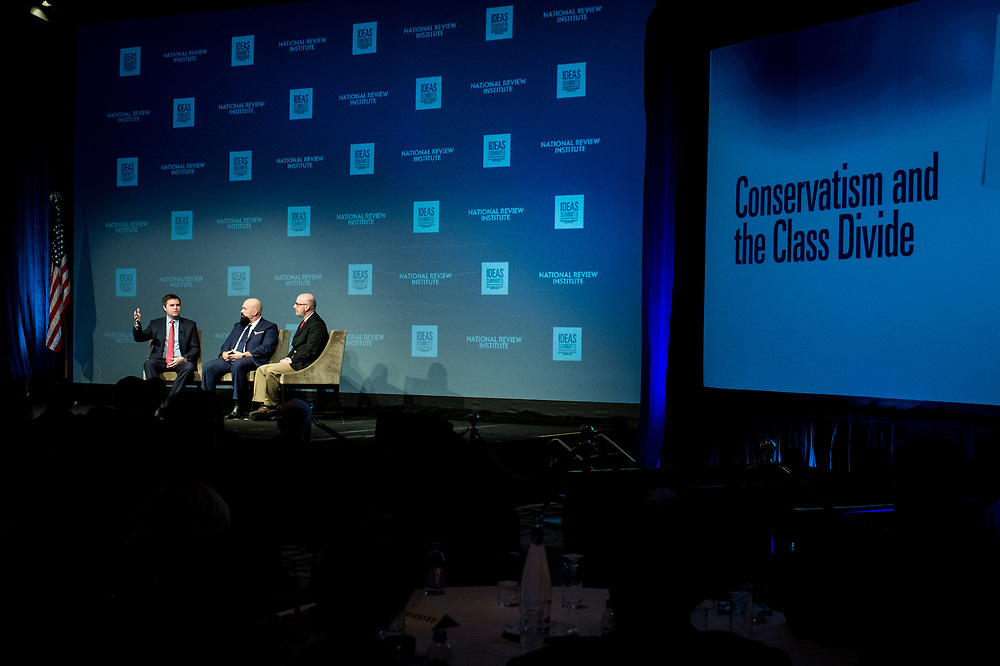 "David French, a staff writer for National Review, moderates a discussion about ""Conservatism and the Class Divide"" with J.D. Vance, author of the book Hillbilly Elegy and Kevin D. Williamson, a correspondent with National Review the 2017 National Review Ideas Summit at the Mandarin Oriental Hotel in Washington, D.C. on May 17, 2017."