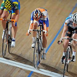 Wielrennen Apeldoorn NK Baanwielrennen 2012-2013 - Koppelkoers: L-R Kirsten Wild, Marianne Vos, Nathalie van Gogh