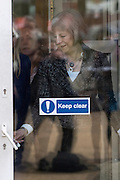 © Licensed to London News Pictures. 01/04/2015. Abingdon, UK. THERESA MAY. Home secretary, Theresa May and Nicola Blackwood, Parliamentary candidate for Abingdon visit Abingdon Police Station today, 1st April 2015, recent arrests for human exploitation, slavery and fraud. . Photo credit : Stephen Simpson/LNP