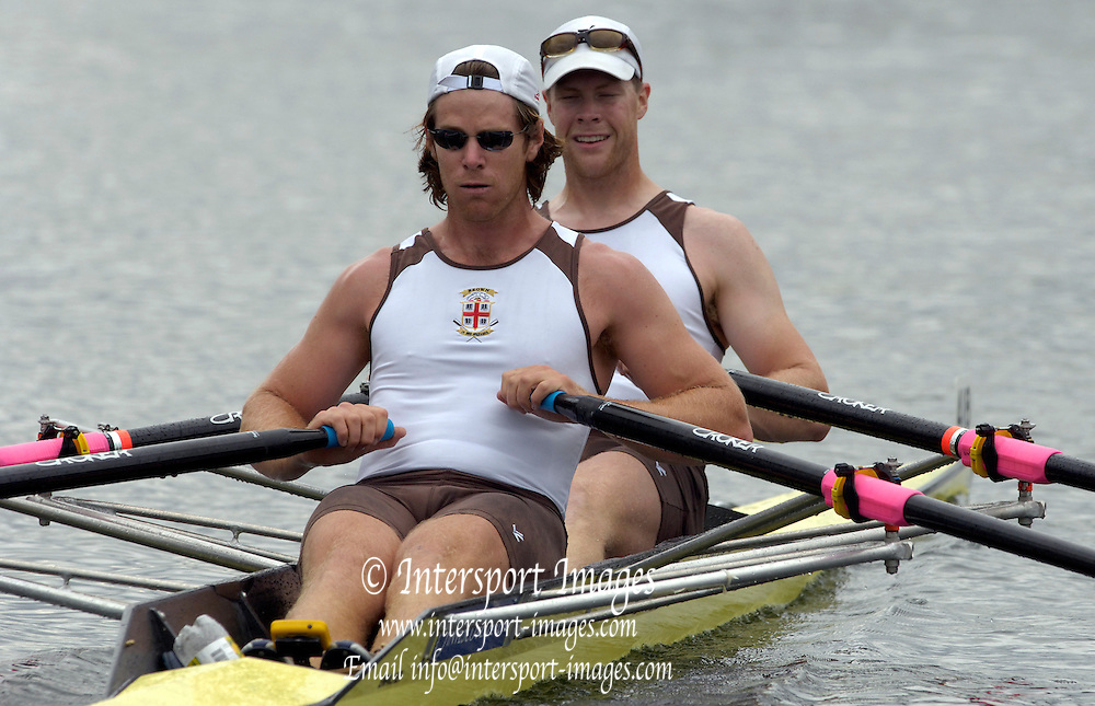 2005 Henley Royal Regatta, Henley on Thames, ENGLAND. 30.06.2005 Heat of the Double Sculls Challenge Cup, Brown Univerity Alumi USA, paddle home to win their heat, on the second day of the 2005 Henley Royal Regatta. Photo  Peter Spurrier. .email images@intersport-images..[Mandatory Credit Peter Spurrier/ Intersport Images] . HRR.