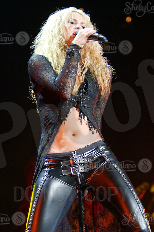 Jan 25, 2003; Las Vegas, NV, USA; Columbian Singer SHAKIRA in concert at the Mandalay Bay events center during her 'Tour of the Mongoose'.<br />