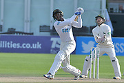 Jofra Archer launches a six during the Specsavers County Champ Div 2 match between Sussex County Cricket Club and Nottinghamshire County Cricket Club at the 1st Central County Ground, Hove, United Kingdom on 28 September 2017. Photo by Simon Trafford.