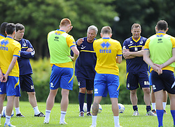 Bristol Rovers Manager, John Ward addresses his players - Photo mandatory by-line: Joe Meredith/JMP - Tel: Mobile: 07966 386802 24/06/2013 - SPORT - FOOTBALL - Bristol -  Bristol Rovers - Pre Season Training - Npower League Two