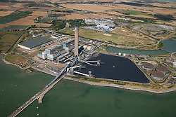 © Licensed to London News Pictures. 26/04/2016. Kingsnorth, Isle of Grain, Medway, UK. Kingsnorth Powers station on the Isle of Grain. The power station on the Hoo peninsular was closed in 2013 after failing to meet EU emissions standards. Photo credit: Martin Apps/LNP