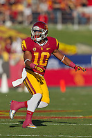 03 November 2012: Linebacker(10) Hayes Pullard of the USC Trojans in game action against the Oregon Ducks during the first half of Oregon's  62-51victory over USC at the Los Angeles Memorial Coliseum in Los Angeles, CA.