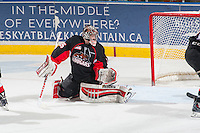 KELOWNA, CANADA - FEBRUARY 9: Ty Edmonds #35 of Prince George Cougars defends the net against the Kelowna Rockets on February 9, 2015 at Prospera Place in Kelowna, British Columbia, Canada.  (Photo by Marissa Baecker/Shoot the Breeze)  *** Local Caption *** Ty Edmonds;