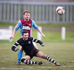 Whitehill Welfare John Hall and Edusport Academy Charef Haifi. <br /> Whitehill Welfare 2 v 1 Edusport Academy, South Challenge Cup Quarter Final played 7/3/2015 at Ferguson Park, Carnethie Street, Rosewell.