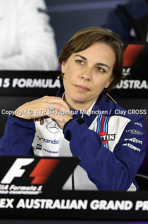 Claire WILLIAMS, Williams GP, <br /> AUSTRALIAN Formula One Grand Prix 2015, Albert Park  - <br /> Formel 1 Rennen in Australien, Motorsport, F1 GP, 13.03. Honorarpflichtiges Foto, Fee liable image, <br /> Copyright &copy; ATP Clay CROSS