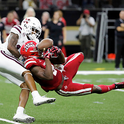 Aug 31, 2019; New Orleans, LA, USA; Mississippi State Bulldogs cornerback Tyler Williams (13) breaks up a pass to Louisiana-Lafayette Ragin Cajuns wide receiver Ja'Marcus Bradley (2) during the first quarter at the Mercedes-Benz Stadium. Mandatory Credit: Derick E. Hingle-USA TODAY Sports