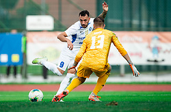 Mitja Lotrič of Celje vs Jalen Arko of Triglav during football match between NK Triglav and NK Celje in 7th Round of Prva liga Telekom Slovenije 2019/20, on August 25, 2019 in Sports park, Kranj, Slovenia. Photo by Vid Ponikvar / Sportida