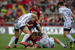 October 20, 2018 - Limerick, Ireland - CJ Stander of Munster tackled by Billy Twelvetrees and Jake Polledri of Gloucester during the Heineken Champions Cup match between Munster Rugby and Gloucester Rugby at Thomond Park in Limerick, Ireland on October 20, 2018  (Credit Image: © Andrew Surma/NurPhoto via ZUMA Press)